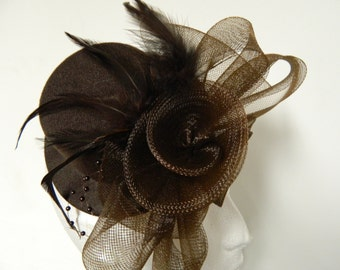 Vintage inspired brown feather tulle flower bow fascinator hat