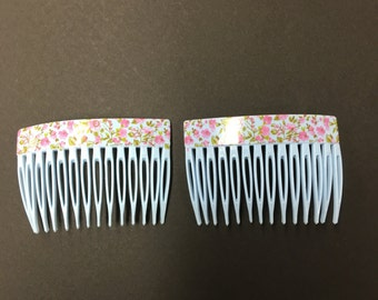 Vintage floral side hair combs made in France