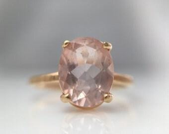 Morganite Gold Hammered Engagement Ring- 14k Gold Oval Morganite Thin Band Engagement Ring- 1ct Oval Morganite Gold Engagement Ring