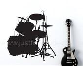 Drum Set Wall Decal, Music Wall Decal, Teen Boy Wall Decal, Teen Boy Wall Decal, Music Lover Wall Decal - 04-0003