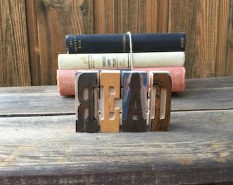 Vintage Letterpress Letters READ / Printers Blocks / Wood Letters / READ Letter Decor / Reading Nook / READ Letter Press / Nursery Decor