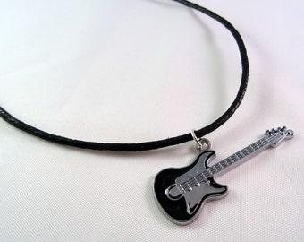 Guitar necklace, black silver bass guitar charm on black cord, rock & roll music, guitarist, musician