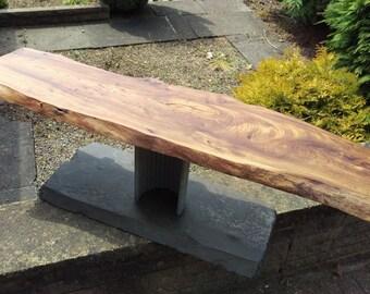 Elm,slate and steel coffee table