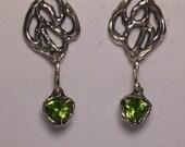 sterling silver peridot earrings, forest earrings, organic earrings