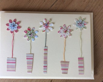 5 flowers bright blank card