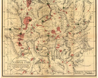 Yellowstone National Park 1881 Official Map - Reprint