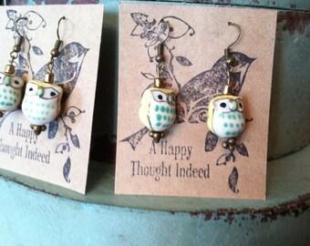 yellow owl earrings