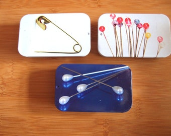 Pin Tins - choose from gold safety pins, pearl headed , shirt / bridal pins