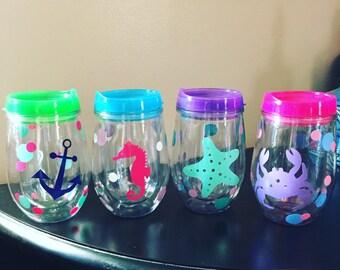 Bev2Go Tumbler, Stemless Wineglass,Personalized Wine Glass, Monogrammed Stemless Wineglass, Beach Tumbler, Starfish Tumble