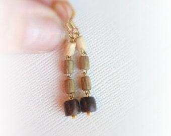 Skinny neutral wood earrings , Earthy wood earrings , Natural jewellery , Eco thin dangle earrings , Simple casual wooden earrings