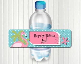 Flamingo Party Water Bottle Label, Flamingo Bottle Label, Flamingo Birthday, Water Bottle Label