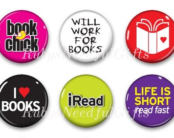 Magnets, Button Magnets, Fridge Magnets, Book Magnets, 1 1/4 inch, Best friends gift, Hostess Gift, SET OF 6, Book Lover.