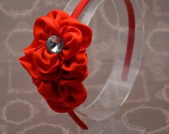 Red Flower Headband, Red Chiffon Flower Headband, Vintage Flower, Girl Headband, Adult Headband, Flower Girl, Wedding Hair Accessory