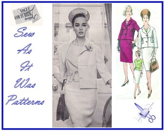 1960s Vogue Couturier Design 1192 John Cavanagh Sleeveless Top Crop Buttoned Jacket Pencil Skirt Vintage Sewing Pattern Size 12 Bust 32""