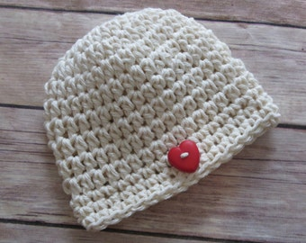 Ready to Ship! VALENTINE'S DAY Hat, Baby Boy, Baby Girl, Photo Prop, Preemie, Newborn, 0-3 mo, Shower Gift, baby's 1st hat, Red Heart button