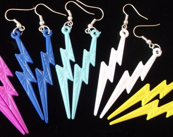 Yellow, Purple, or Green Lightning Bolt Dangle Earrings on silver hooks.  One pair of YELLOW-check out other colors available