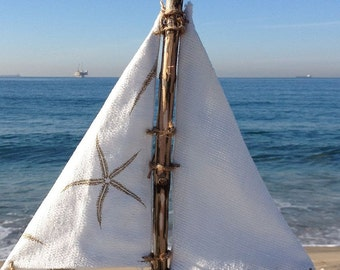 Driftwood Sailboat Waterside, wood Boat, sailboats, Driftwood decor, Great gifts