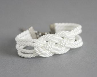White Rope Knote Bracelet Sailor Knot Bracelet White Rope Jewelry Knot Bracelet Knot Rope Bracelet Nautical Bracelet Rope Bracelet White