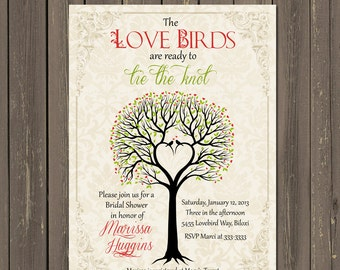 Bird Bridal Shower Invitation, Love birds Bridal Shower invitation, Rustic Tree Bridal Shower invite, Bird Theme Bridal Shower