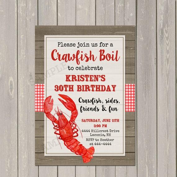 Crawfish Boil Invitation Low Country Boil Party Invitation Shrimp
