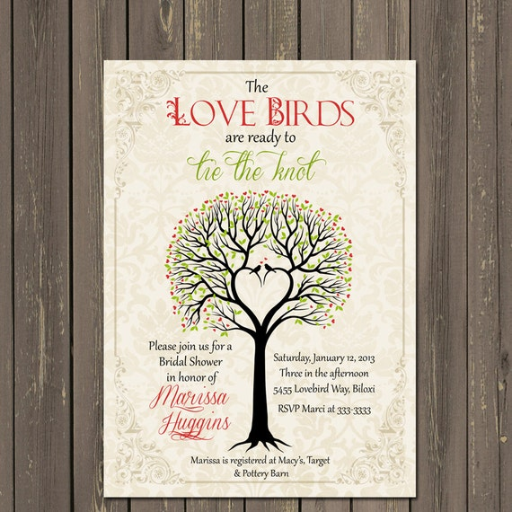 Bird Bridal Shower Invitation, Love birds Bridal Shower invitation, Rustic Tree Bridal Shower invite, Bird Theme Bridal Shower