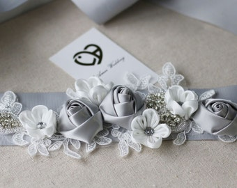 Custom Made Grey and Ivory Bridal Belt Wedding Sash Accented with Bling