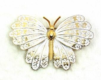 Capri Butterfly Brooch White Gold Enamel Vintage 1980s