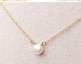 ON SALE Ivory mother of pearl necklace - sterling silver or 14k gold filled chain - every simple jewelry