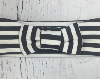 Black and white stripe bow turban headband