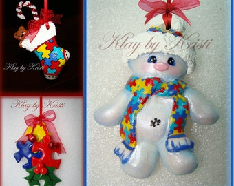 Autism Awareness Christmas Snowman, Stocking & puzzle piece ornaments. Set of 3 Great Teacher Gift!