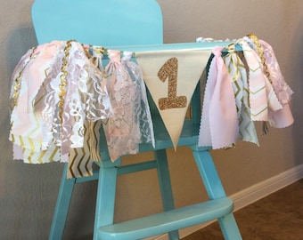 Wall Banner or High Chair Fabric Birthday Banner in Pink and Gold with Lace and Ribbon Accents (Gold Glitter Age Number), Photo Backdrop