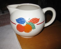 Vtg 40's Pottery Guild Ball Pitcher Fruit Leaf pattern Hostess Ware Farm Decor/ Homestead look/ Shabby Water Pitcher Free ship