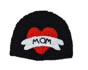 Tattoo Beanie, Mens Crochet Hat, Mothers Day Hat, Baby Boy Photo Prop, Infant Boy, Newborn Photo Prop, Kids Crochet Toddler Boy Black Beanie