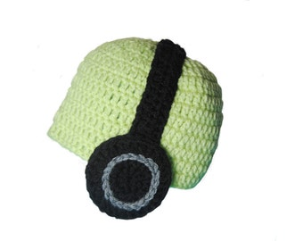 Toddler Boys Crochet Headphones Beanie, Hipster Baby Hat, Light Green Baby Hat, Headphones Hat, Knit Boys Hat, Kids Hat, Toddler Photo Prop