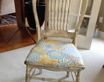 Pressed Back Side Chair Professionally Upholstered Seat Distressed Painting Shabby Chic Cottage Country Farmhouse Craft Room Unique Design