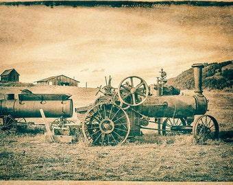 Image Steam Tractor, Vintage Farm Equipment, Vintage Tractor Photo, Antique Tractor Image,