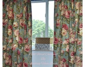 Valentines Sale Pair of Bold Floral Designer Fabric Curtains for Bedrooms, Shabby Chic, Living rooms, Kids/little girls bedroom, Nursery