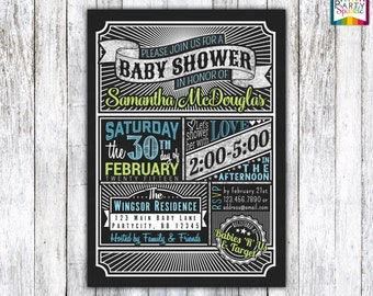 Vintage Chalkboard Baby Shower Invite - Baby Boy Blue and Green Personalized - Digital Printable Invitation 4x6 or 5x7 jpg or pdf
