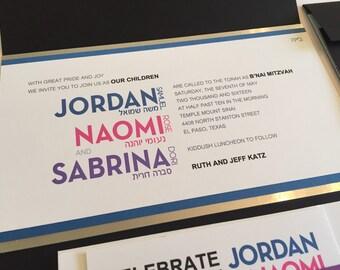 Modern B'nai Mitzvah Invitation