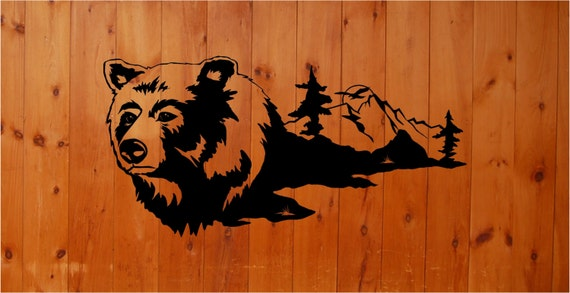 Bear mountains hunting wall decals vinyl stickers animal for Hunting wall decals