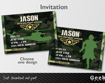Printable - Military Style Party Invitation  - Army - Soldier - Helicopter - Camouflage