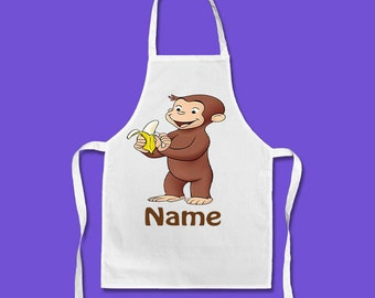 Personalised Curious George Apron - Named - Adults & Children