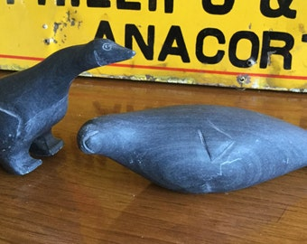 Vintage Native Eskimo Inuit Seal and Bird Carvings