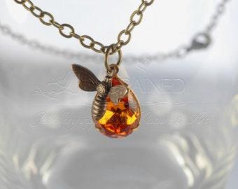 Honey Bee Necklace with Swarovski Topaz Crystal, Amber Necklace