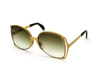 Neostyle Society Vintage 1960s Bold Modern Oversized Sunglasses Model 150 Gold-Tone Metal Geometric Mod Statement Sunglasses Germany