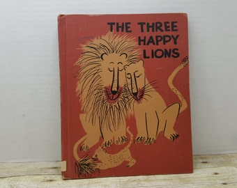 The Three Happy Lions, 1959, Roger Duvoisin, vintage kids book, lion book