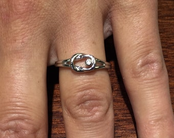 sterling silver diamond love knot ring