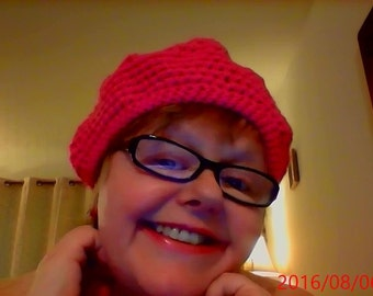 HANDMADE HAT winter fall very warm- bright hot pink color
