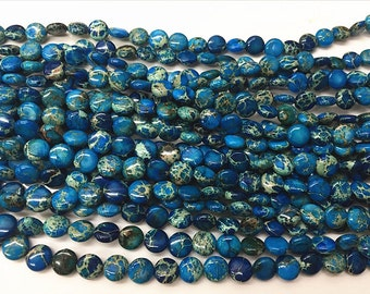 18mm Flat Round Sea Sediment Jasper Blue - 4544