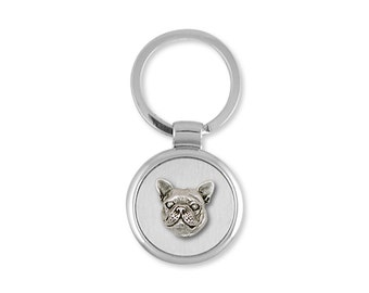 French Bulldog Key Ring Handmade Sterling Silver Dog Jewelry FR11-K